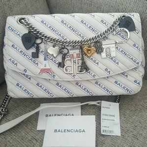 Balenciaga round BB logo  shoulder bag with charms